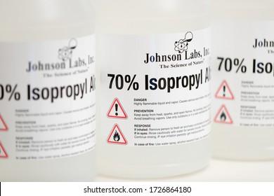 Princeton New Jersey May 9 2020: 70% ISOPROPYL ALCOHOL TECHNICAL GRADE by JOHNSON LABS, 1GALLON Closeup - Image