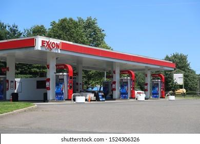 Princeton, New Jersey October 6, 2019:Exxon gas station in Princeton, NJ, USA