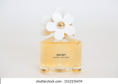 Princeton New Jersey September 23 2019: A perfume fragrance bottle by Daisy Marc Jacobs on white background. - Image