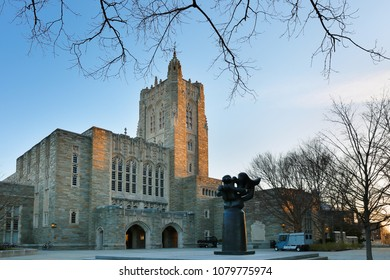 Princeton, New Jersey, USA - April 20, 2018: Firestone Library on campus of Princeton University at sunrise.  Princeton University is a Private Ivy League University in New Jersey, USA