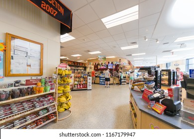 Princeton, New Jersey, USA, August 25, 2018:US.supermarket, grocery with customers shopping,  Healthy concept.