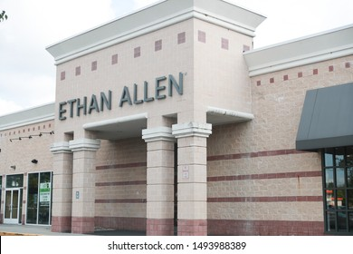 Princeton New Jersey, USA, August 3, 2019: Ethan Allen store exterior and logo. Thomasville Furniture Industries is a full-line furniture manufacturer. - Image