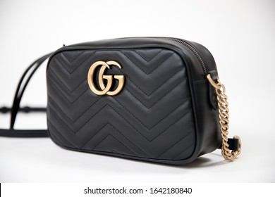 Princeton New Jersey, USA February 10, 2020: GG Marmont small matelasse shoulder bag,  gucci is famous luxury fashion brand in global - Image