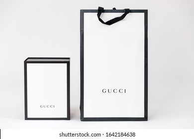 Princeton New Jersey, USA February 10, 2020: Gucci gift packaging. gucci is famous luxury fashion brand in global - Image