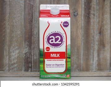 Princeton, New Jersey, USA, March 18 2019:A carton of A-2 Milk. Studies show milk with only the A2 Beta Casein Protein Type reduced acute gastrointestinal symptoms in milk sensitive consumers. - Image