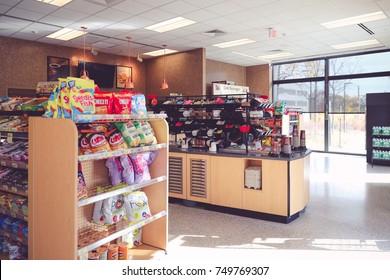 Princeton New Jersey, USA - November 4, 2017: Wawa Gas Station Store