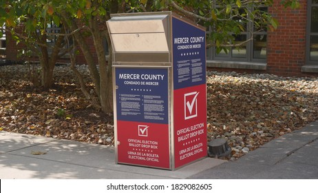 Princeton, New Jersey, USA, Oct. 7, 2020: Vote by mail ballot drop box dropbox in Mercer County