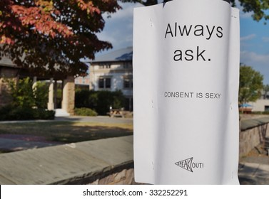 PRINCETON, NJ -15 OCTOBER 2015- Poster for the Consent is Sexy campaign on the campus of Ivy League Princeton University. The campaign is designed to prevent relationship and sexual abuse and rape.