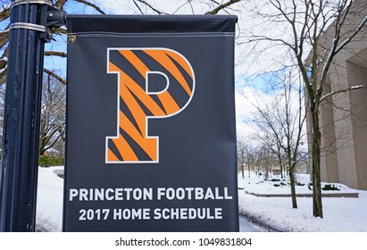 PRINCETON, NJ -8 MAR 2018- View of a sign on the campus of Princeton University, a private Ivy League research university in New Jersey, after a winter snow storm.