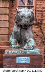 Princeton, NJ - Feb 19, 2018: Tiger sculpture in front of Nassau Hall, a national landmark in Princeton University in Princeton, Mercer County, New Jersey, United States.