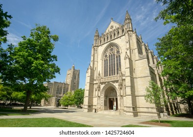 Princeton, NJ / United States - June 15, 2019:  a landscape image of the Princeton University Chapel and the Firestone Library