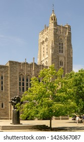Princeton, NJ / United States - June 15, 2019: Vertical view of the famous Collegiate Gothic style Harvey S. Firestone Memorial Library located at Princeton University.