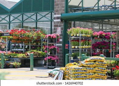 Princeton, NJ, USA - June 16, 2019:The Home Depot garden nursery. - Image