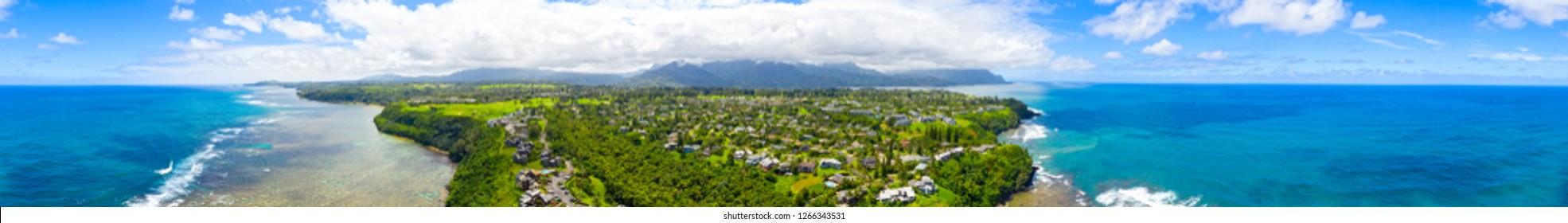 Princeville Kauai Hawaii 360 Aerial Panoramic View