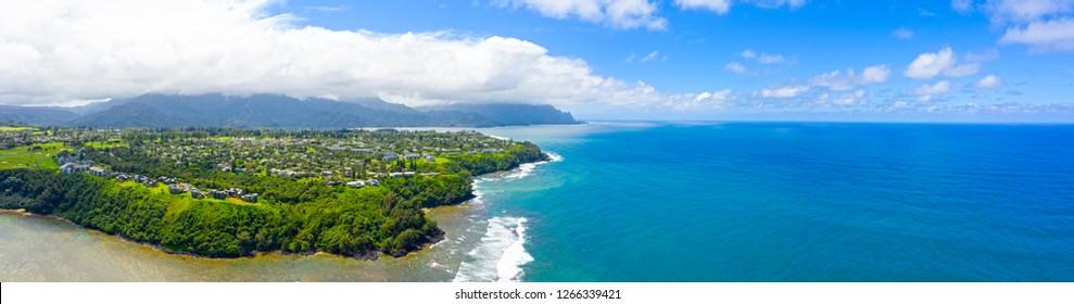 Princeville Kauai Hawaii Panorama Waterfront