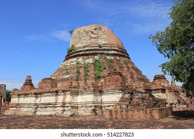 Principal Stupa  ,Wat Khudeedao ,ancient architecture  , Buddhist sculpture ,Thai temple architecture ,Ayutthaya Historical Park,Thailand , world heritage.Archaeological
