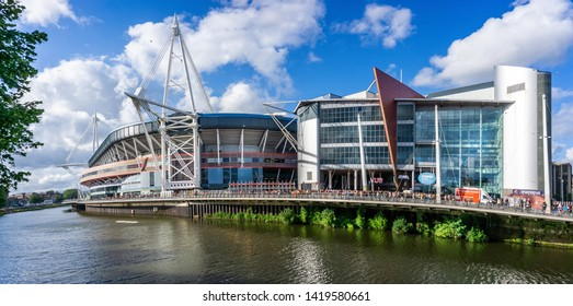 The Principality or Millennium Stadium from the west bank of the river Taff,  in Cardiff, Wales, UK on 8 June 2019