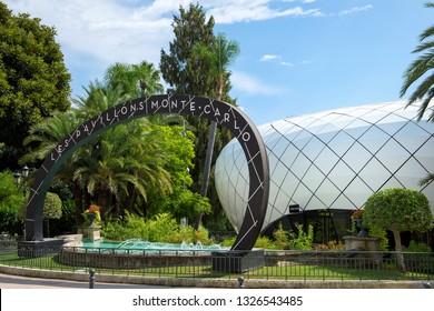 Principality of Monaco - 01.09.2018: Monte-Carlo Pavilions (also known as Les Pavillons Monte-Carlo, Pavillons des Merveilles, Pavillons des Boulingrins). Temporary commercial shops near the casino
