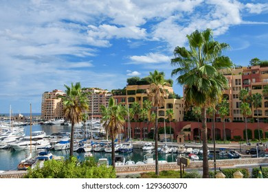 Principality of Monaco - 02.09.2018: View of district Fontvieille