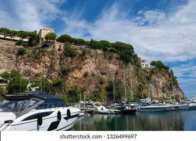 Principality of Monaco - 02.09.2018: View of Fontvieille harbor (Port de Fontvieille) and Monaco-Ville with Prince's Palace