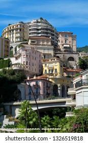 Principality of Monaco - 02.09.2018: view of La Condamine / Moneghetti with historic architecture