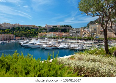 Principality of Monaco - 02.09.2018: View of Port Hercule, La Condamine and Monaco-Ville with the Prince's Palace in background