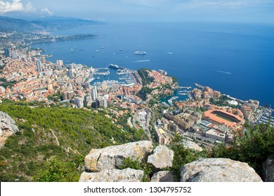Principality of Monaco - 09.09.2018: panorama overview from Tete de Chien