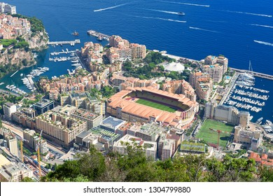 Principality of Monaco - 09.09.2018: panorama overview of Fontvieille from Tete de Chien