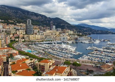 The Principality of Monaco, 13 October 2013 . View of the residential areas and the port of Fontevill