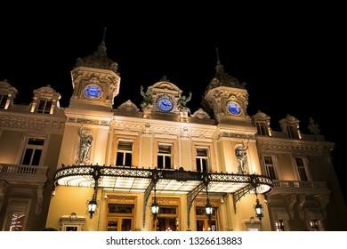 Principality of Monaco - 31.08.2018: Facade of famous Casino Monte-Carlo at night