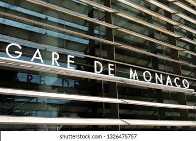 Principality of Monaco - 31.08.2018: Facade of railway station (gare de Monaco)