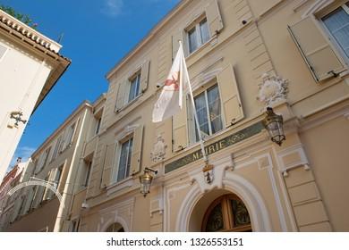 Principality of Monaco - 31.08.2018: historic Monaco Town Hall (mairie de Monaco) in district Monaco-Ville
