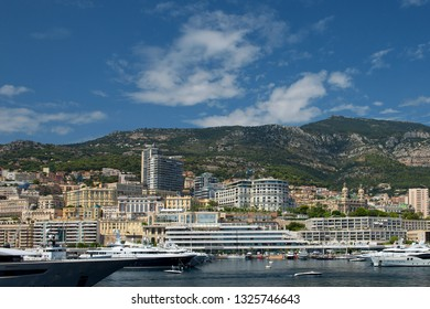 Principality of Monaco - 31.08.2018: panorama overview of Port Hercule and Monte-Carlo