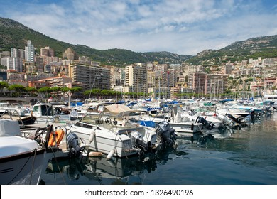 Principality of Monaco - 31.08.2018:  panorama overview of Port Hercule, Monte-Carlo and La Condamine with ships in foreground