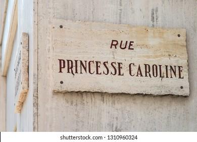 Principality of Monaco - 31.08.2018: Street sign with name of Caroline, Princess of Hanover