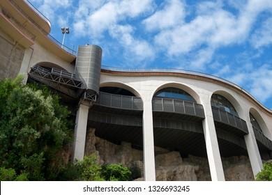 Principality of Monaco - 31.08.2018: Typical architecture and street course of district La Condamine