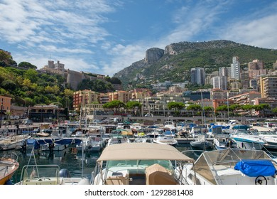 Principality of Monaco - 31.08.2018: View of Port Hercule with La Condamine and the Prince's Palace in background