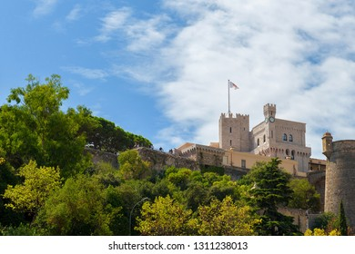 Principality of Monaco - 31.08.2018: View of the Prince's Palace up on the rock with copy space for text