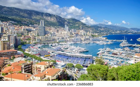 The Principality of Monaco - April 30, 2014: Monte Carlo harbour city panorama. View of luxury yachts and apartments in harbor of Monaco, Cote d'Azur.