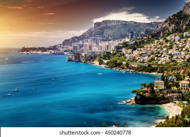 Principality of Monaco. Cote d'Azur., architectural beauty. Old buildings perfect combined with skyscrapers. Sea Shore- landscape picture.