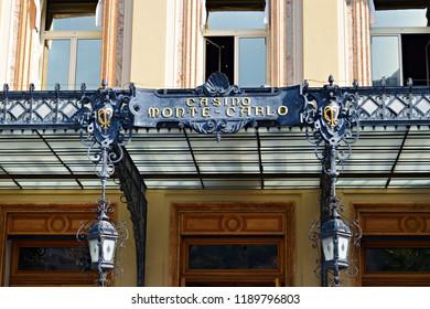 Principality of Monaco, Monte Carlo, September 2017 details of the facade of the Monte Carlo Casino in the city state of the Principality of Monaco