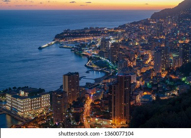 Principality of Monaco panoramic view in evening light