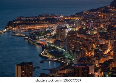 Principality of Monaco panoramic view in the night