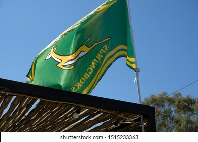 Prins Albert / South Africa - September 23 2019: A flag supporting the South African rugby team (also known as the Springboks) flies outside a pub during the Rugby World Cup 2019 held in Japan