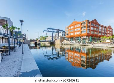 Prins Clauskade, Rijnplein Alphen aan den Rijn, Zuid Holland, Netherlands, may 31, 2017: View on  Rijnplein en Alphense brug.