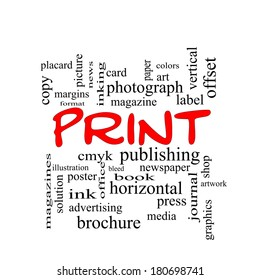 Print Word Cloud Concept in red caps with great terms such as publishing, book, cmyk and more.