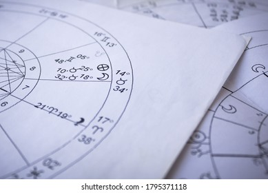 Printed astrological charts, moon in natal chart, detail