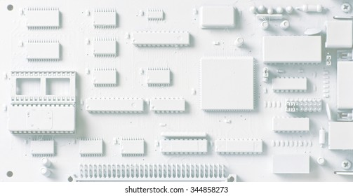 Printed Circuit Board; abstract background image of printed circuit board, white, pale tones suitable for overprinting