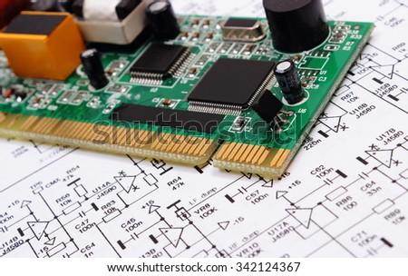 printed circuit board electrical components lying stock photo (edit
