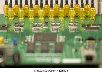 Printed circuit board with gold plated connectors.